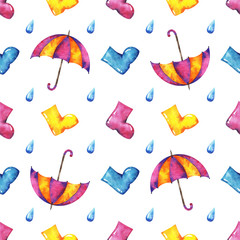 hands drawn watercolor autumn seamless pattern with umbrella, raindrop and rubber kneeboots on white background for your design