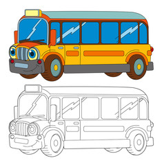 funny looking cartoon yellow smiling bus - isolated coloring page illustration for children
