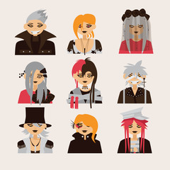 Vector collection with lovely visual kei male characters. Men heads drawn in bright colors, good for icon or avatar.