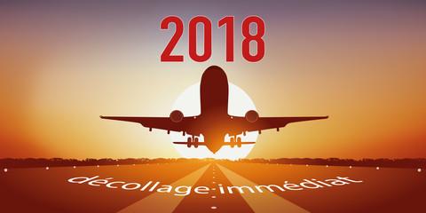 2018 - avion - décollage - carte de vœux - avion de ligne - année
