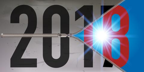 2018 - carte de vœux - optimiste - liberté - crise - concept - avenir - futur