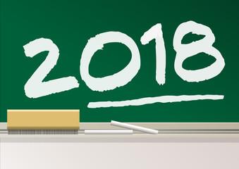 2018 - école - présentation - carte de vœux -année - tableau - éducation
