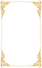 Decorative frame and borders , Golden frame on white background with copy space for add text message. Thai pattern
