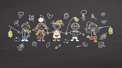 Kindergarten Kids with latern on chalkboard