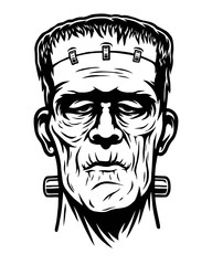Monochrome illustration of Frankenstein head. Isolated on white background. Halloween theme