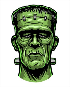 Color illustration of Frankenstein head. Isolated on white background. Halloween theme