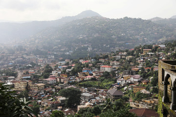 General view shows the city center of Freetown