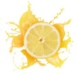 Fototapete - lemon with juice splash isolated on a white background