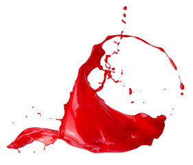 Fototapete - red paint splash isolated on a white background