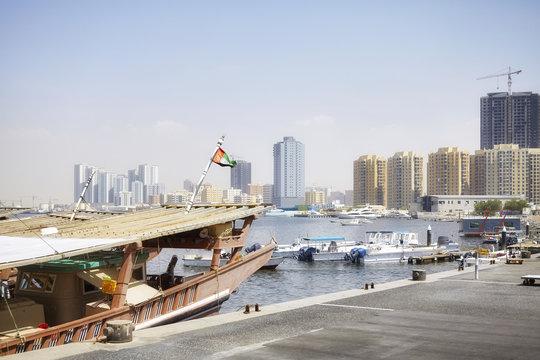 Boats at Ajman harbor, United Arab Emirates.