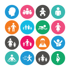 Set of People and Family icons. Swimming pool.