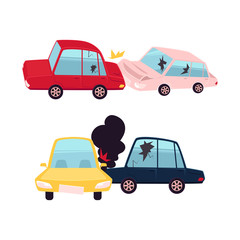 vector flat cartoon car crash, accident set. Head-on collision and front one. both vehicle have dents, broken glasses, scratches, fire and smoke from hood. Isolated illustration on a white background.