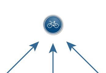 Pfeile zeigen auf Button - Fahrrad