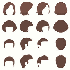 woman and man hair, vector hairstyle silhouette, front back and side view