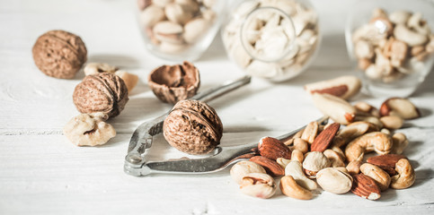 different nuts close up