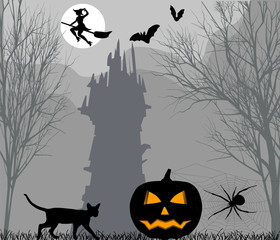 Halloween pumpkin on the background of forest and dark castle
