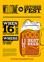 Welcome to Oktoberfest Poster. Vertical or Portrait Orientation. Vector Hand Drawn Beer Mug with Lettering on Yellow Grunge Retro Texture. Placard for Bavarian Event, Fest, Flyer. Octoberfest Design.