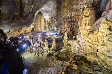 Highlighted limestone formations in the Paradise Cave or Thien doung cave . Phong Nha ke bang region of Vietnam