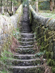 steep stone stairs with walls joining countryside pathways with grass and trees