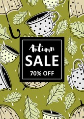 Autumn season layout discount with different plants. Autumn template sales letters.
