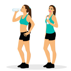 Healthy Lifestyle. Girl with water.