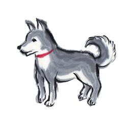 犬の墨絵<干支・戌>004