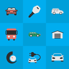 Vector Illustration Set Of Simple Shipping Icons. Elements Open, Sport, Autobus And Other Synonyms Bus, Speedometer And Counter.