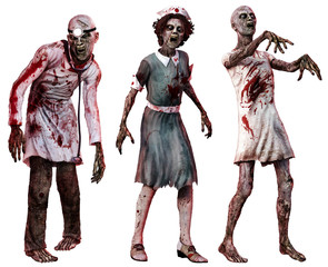 Zombies in hospital clothes