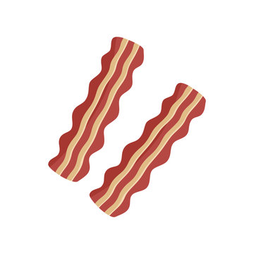 Two slices of bacon graphic, bacon strips vector illustration, isolated on white background.