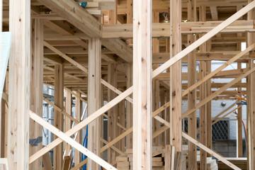 木造2階建て住宅の建築現場 イメージ 天井