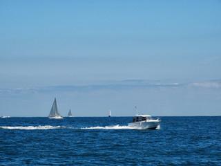 Sailing beside Hendaye Coast Bay of Biscay