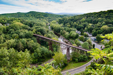 View of the Rosendale, NY  Train Trestle from the Joppenbergh Mountain. Part of the Wallkill Rail Trail in upstate NY.