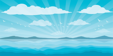 Graphic sea and clouds, bird in the sky, sky, sea, scene, beautiful, background, water, nature, pattern, Blue waves sea ocean abstract pattern background colorful vector illustration