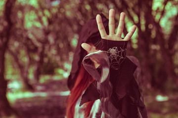 Image of witch in forest