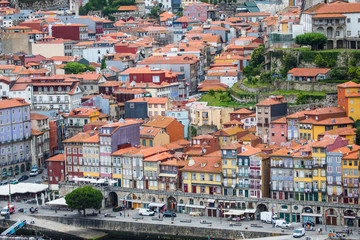 Porto, Portugal - July 2017. The Douro River and the Ribeira District which is the most famous part of Porto