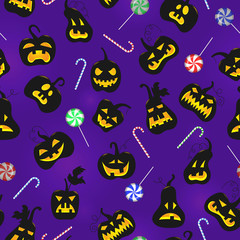 Seamless pattern on the theme of Halloween, pumpkins with faces and sweets on a dark purple background