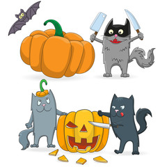 A set of cartoon sketches on the theme of Halloween, funny cats cut pumpkin isolated on a white background