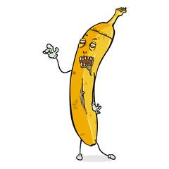 Vector Cartoon Character - Walking Banana Zombie