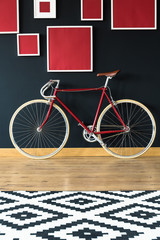 Red bike in spacious studio