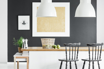 Kitchen with gold painting