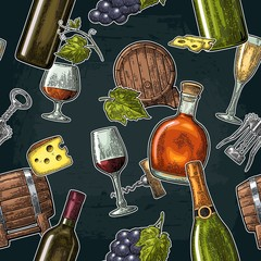 Seamless pattern drinks made from grapes. Wine, brandy, champagne bottle, glass