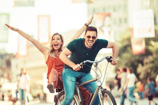 Couple enjoying bike