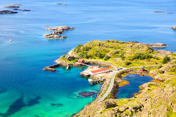 Fotomurales - Lofoten Islands coastline, view from mountain