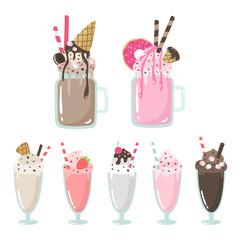 Crazy milkshakes set. Set of cute cartoon vector illustrations. Non-alcoholic beverages. Sweet, chocolate, strawberry drinks