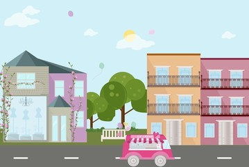 City street view with baloons vector flat style