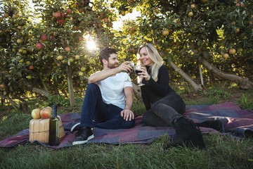 Couple toasting glasses of wine in apple orchard