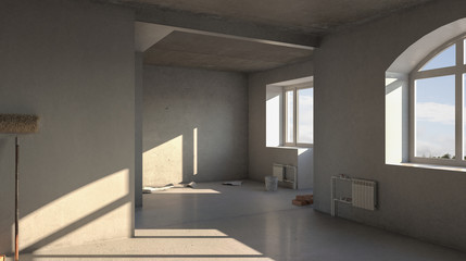 Interior with rough finish 3D rendering