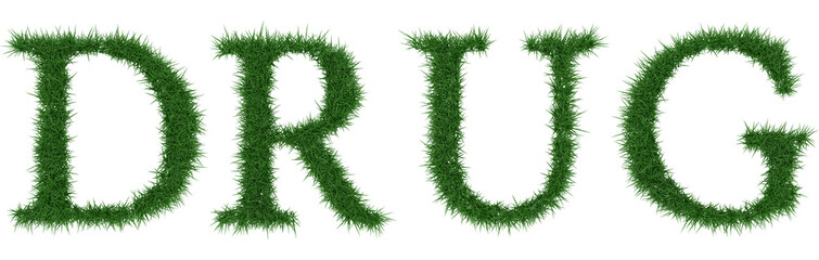 Drug - 3D rendering fresh Grass letters isolated on whhite background.