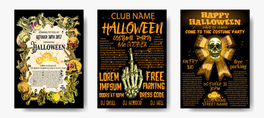 Halloween costume party invitation and greeting card set, flyer, banner, poster templates. Hand drawn skull and bones elements and handwritten ink lettering. Lot of space for text. Vector.