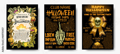 Halloween Costume Party Invitation And Greeting Card Set Flyer - Party invitation template: halloween costume party flyer